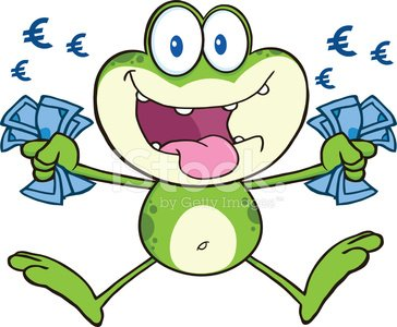 Cute Frog Jumping With Euro And Euro Sign Premium Clipart