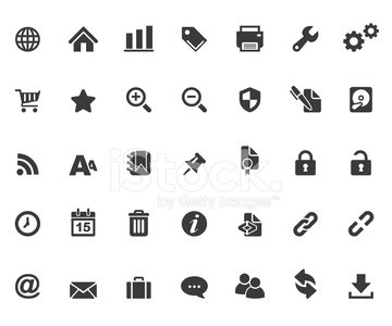Set of black silhouette web icons