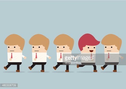 Businessman go to different way of his team, Individuality concept