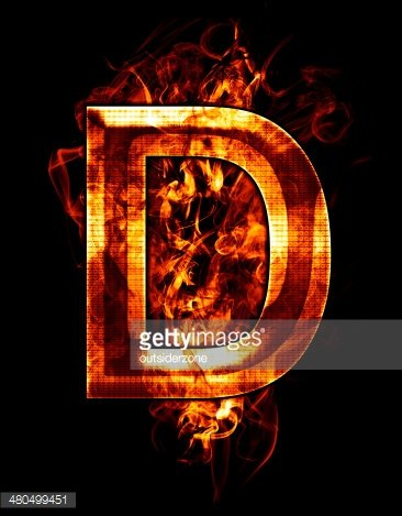 d, illustration of letter with chrome effects and red fire