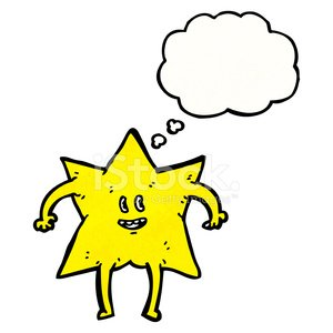 star cartoon character with thought bubble