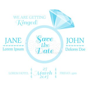 Save the Date - Wedding Invitation Card with Diamond Ring