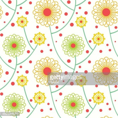 Simple Floral Pattern With Bold Flowers premium clipart