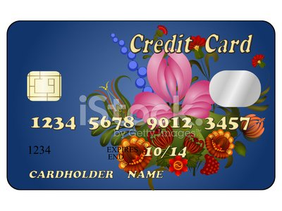 Abstract credit card with floral ornament. eps10
