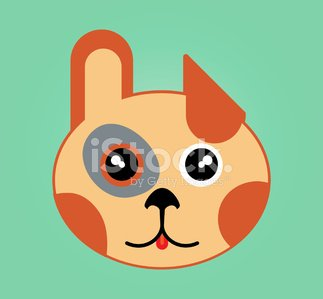 Simple web icon in vector: funny face of animal