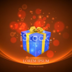 gift box with magic particles vector background