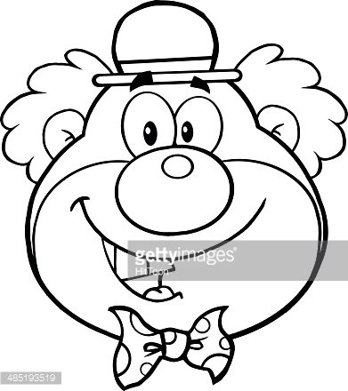 Black And White Smiling Clown Head Clipart Image