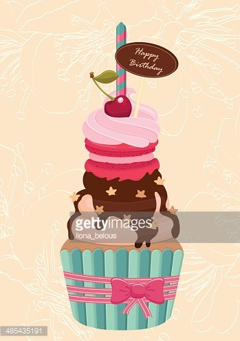 Birthday Cupcake With A Candle On Premium Clipart Clipartlogo Com