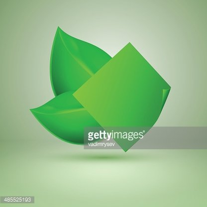 Two green leaves. Label with place for text.
