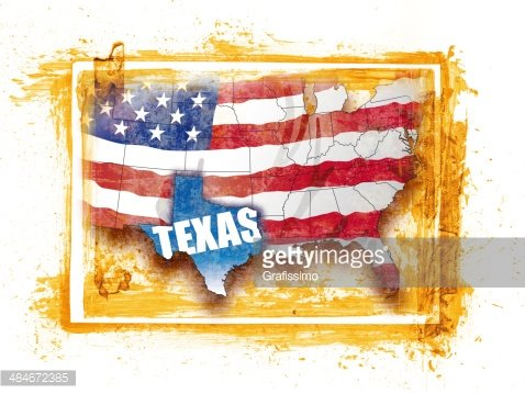 United States map with federal state Texas