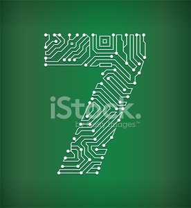 Seven Circuit Board royalty free vector art background