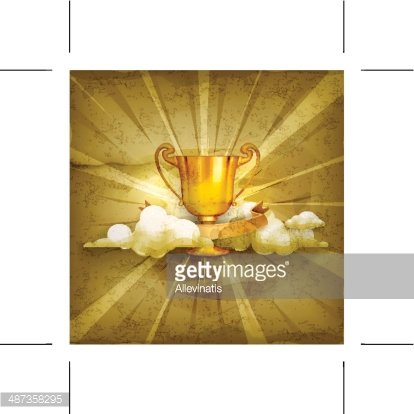 Gold trophy, old style background