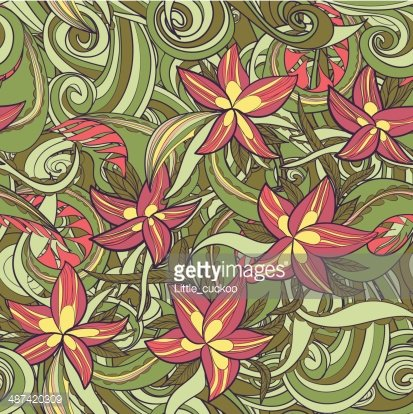 floral pattern with colorful blooming flowers