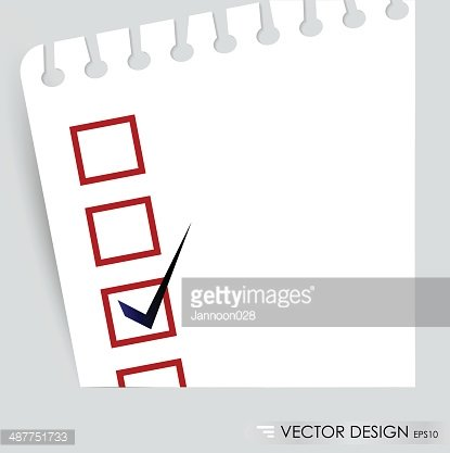 Checklist with black marker and red checked boxes.