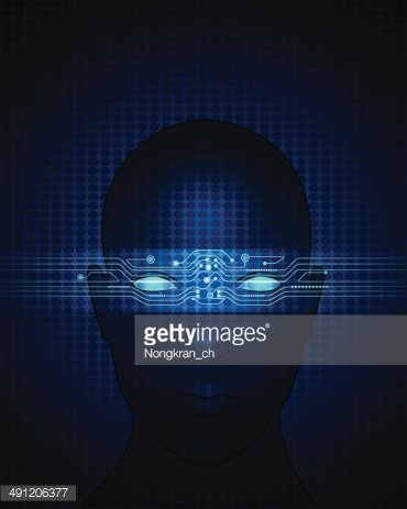 Human face- abstract technology with a circuit lines