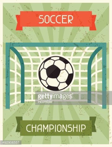 Soccer Championship. Retro poster in flat design style.