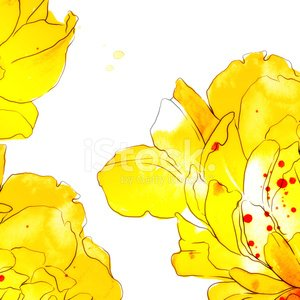 frame of abstract watercolor flowers