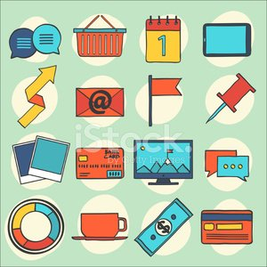 Modern flat icons vector collection, web design objects, busines