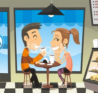 Couple having a coffee at a cafe laughing