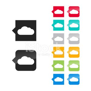 Cloud icon for user interface - flat and glossy.