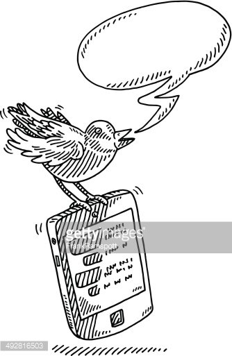 Twitter Bird Speech Bubble Smart Phone Drawing