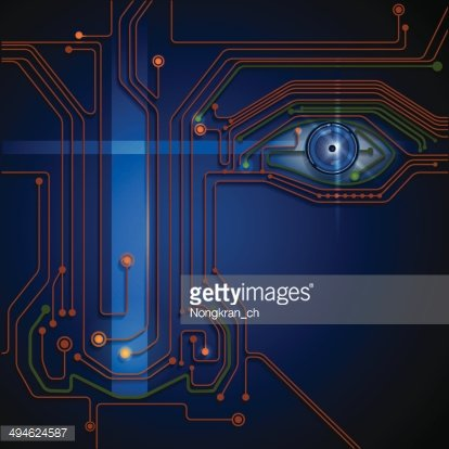 Eye abstract technology with a circuit lines