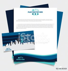 Business paper template and business card template, vector illus