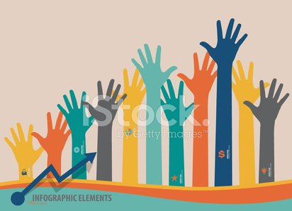 Infographic design template, colorful raised hands.