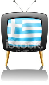 TV screen with the flag of Greece