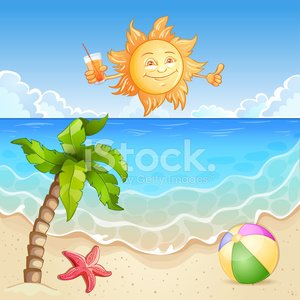 Summer beach illustration with happy sun and palm tree.