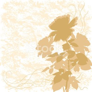 Holiday background with flower rose silhouette