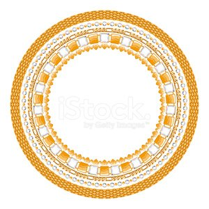 Jewelry round frame with gemstones. Chains of diamonds and gold.