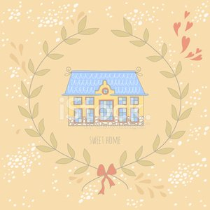 Sweet home illustration with a wreath and cute house