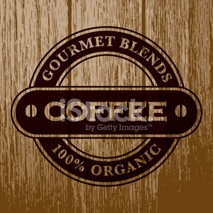 Vintage Coffee Label on Aged Wood