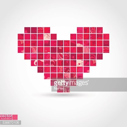 Heart mosaic. Vector illustration.