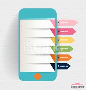 Infographic design template. Touchscreen device with infographic