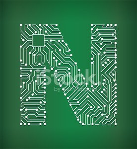 Letter N Circuit Board royalty free vector art background