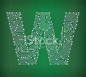 Letter W Circuit Board royalty free vector art background