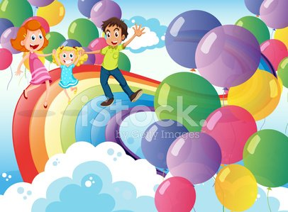 Happy family playing with the rainbow and the floating balloon