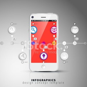 Dark abstract phone illustration, timeline infographic template