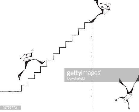 Man running Stairs and Falling Down