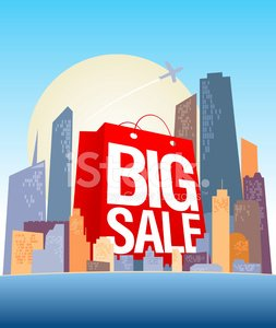 Big sale shopping bag in city.