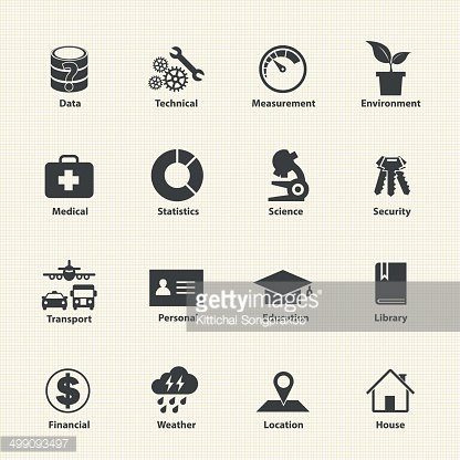 Data type icon set, Different kinds of data