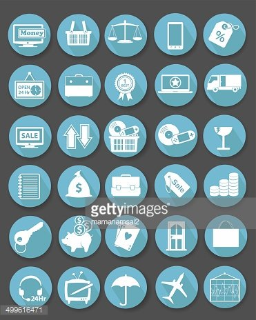 Shopping icon set,Flat icons,Blue version,vector