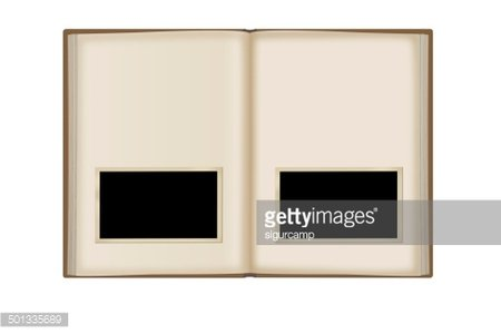 Open book with blank photo on white background.