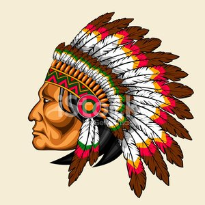 American Indian In Traditional Costume Clipart Image