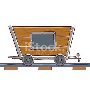 vector cartoon trolley on rails. Game elements