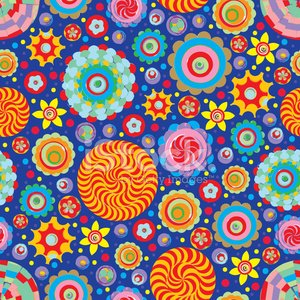 Circle abstract beautiful flower seamless pattern. Vector.