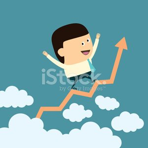 Cartoon Businessman with Business growth concept
