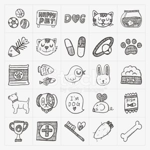 Doodle huisdier icons set